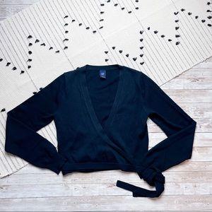 Gap V-Neck True Wrap Style Sweater Black Small